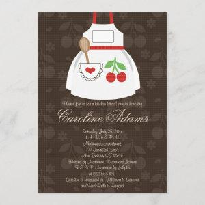 Cherry Apron Bridal Shower Invitation Red and Brow starting at 2.66