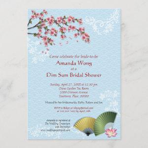 Cherry Blossom and Fans Dim Sum Blue Bridal Shower Invitation starting at 2.87