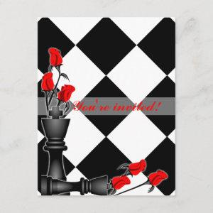 Chess and Roses Gothic Wedding Invitation starting at 2.47