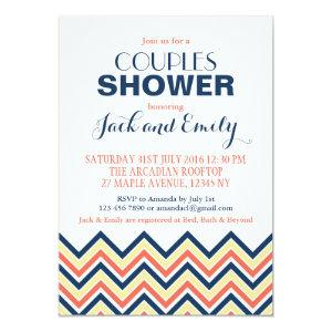 Chevron Couples Shower Invitation Coral And Blue starting at 2.56