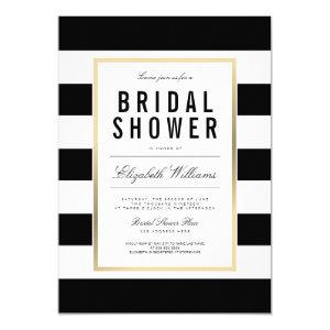 Chic Black White Striped Gold Bridal Shower Invite starting at 2.40