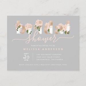 Chic Blush & Gold Floral Typography Bridal Shower Invitation Postcard starting at 1.70