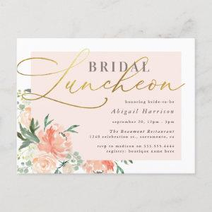 Chic Blush & Gold Script Floral Bridal Luncheon Invitation Postcard starting at 1.70