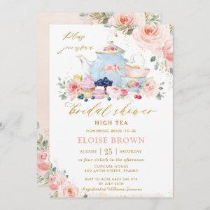 Chic Blush Pink Floral Tea Party Bridal Shower starting at 2.51