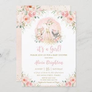 Chic Blush Pink Floral Woodland Girl Baby Shower Invitation starting at 2.40