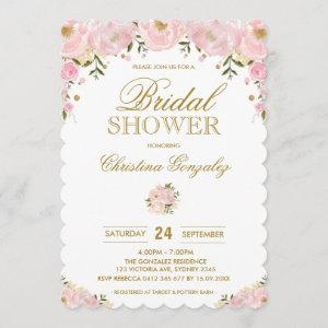 Chic Blush Pink Gold Floral Bridal Shower Invite starting at 2.81