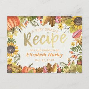 Chic Bridal Shower Recipe Autumn Fall Maple Leaves  Postcard starting at 1.70
