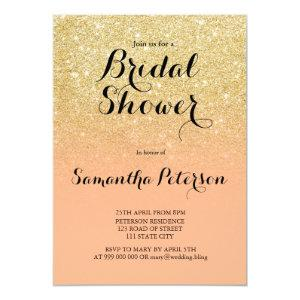Chic faux gold glitter coral bridal shower invitation starting at 2.40