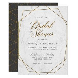 Chic Gold Geometric Art Deco Marble Bridal Shower Invitation starting at 2.40