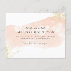 Chic Gold Glitter Blush Pink Bridal Shower Invitation Postcard starting at 1.70