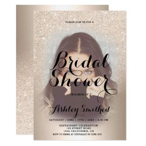 chic gold glitter ombre foil photo bridal shower invitation starting at 2.40