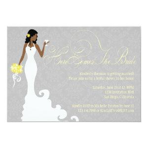 Chic Grey Yellow Here Comes the Bride Shower Invitation starting at 2.51