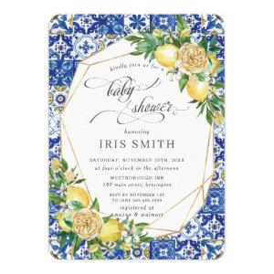 Chic Lemon Floral Greenery Geometric Baby Shower Invitation starting at 2.60