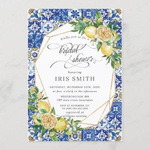 Chic Lemon Floral Greenery Geometric Bridal Shower Invitation starting at 2.40