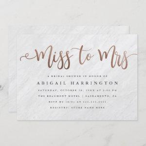 Chic Marble & Rose Gold Miss to Mrs Bridal Shower Invitation starting at 2.40