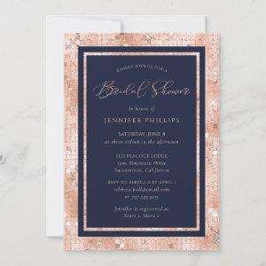 Chic Navy Blue and Rose Gold Glitter Bridal Shower starting at 2.40