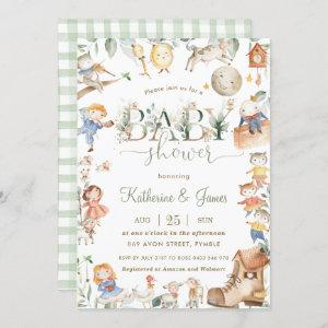 Chic Nursery Rhyme Greenery Baby Shower Neutral Invitation starting at 2.40