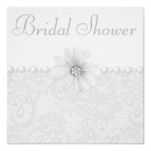 Chic Paisley Lace, Flowers & Pearls Bridal Shower Invitation starting at 2.51