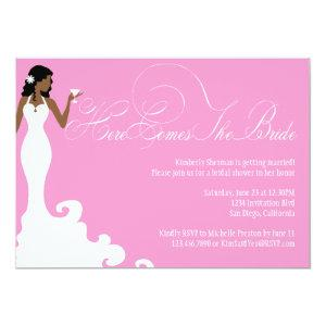 Chic Pink Here Comes the Bride Shower Invite starting at 2.51