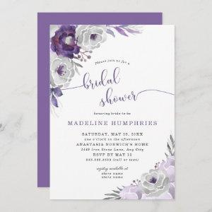 Chic Purple Silver Watercolor Floral Bridal Shower Invitation starting at 2.51