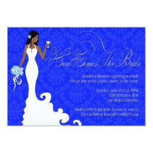 Chic Royal Blue Silver Damask Here Comes the Bride Invitation starting at 2.51