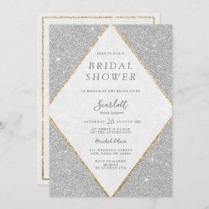Chic silver gold marble glitter Bridal Shower Invitation starting at 2.51