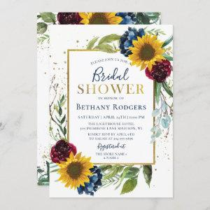 Chic Sunflower Floral Gold Glitter Bridal Shower Invitation starting at 2.25