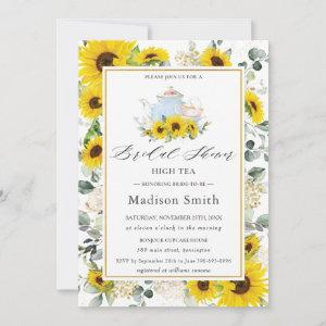 Chic Sunflower Floral High Tea Party Bridal Shower Invitation starting at 2.51