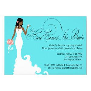 Chic Teal Black Coral Here Comes the Bride Invitation starting at 2.40