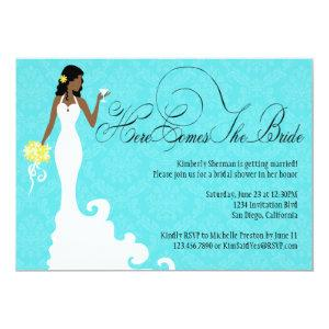 Chic Teal Black Yellow Damask Here Comes the Bride Invitation starting at 2.51