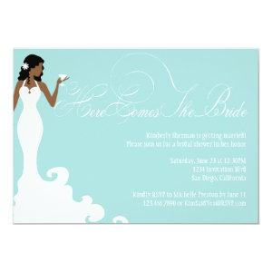 Chic Teal Here Comes the Bride Shower Invite starting at 2.51