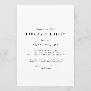 Chic Typography Brunch and Bubbly Bridal Shower Invitation starting at 2.51