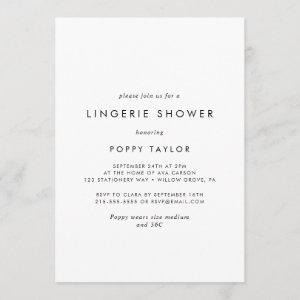 Chic Typography Lingerie Shower Invitation starting at 2.51
