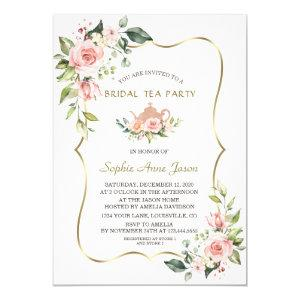 Chic Watercolor Blush Floral Gold Bridal Tea Party Invitation starting at 2.25
