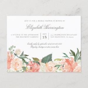 Chic Watercolor Spring Floral Bridal Shower Invitation Postcard starting at 1.70