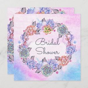 Chic Watercolor Succulents Wreath Bridal Shower Invitation starting at 2.51