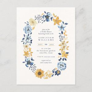 Chic Watercolor Sunflower Wreath Bridal Shower Invitation Postcard starting at 1.70