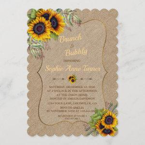 Chic Watercolour Sunflowers Burlap Brunch & Bubbly starting at 2.80
