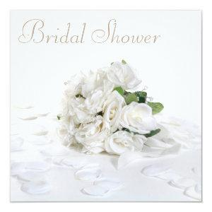 Chic White Roses Bouquet & Petals Bridal Shower Invitation starting at 2.51