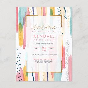 Chic Yellow Painted Memphis Artistic Bridal Shower Invitation Postcard starting at 1.70