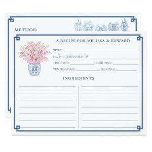 Chinoiserie Chic Pink and Blue Recipe Card starting at 2.31