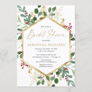 Christmas greenery gold red hollies bridal shower invitation starting at 2.55
