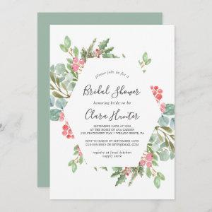 Christmas Greenery & Red Berry Bridal Shower Invitation starting at 2.51