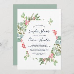 Christmas Greenery & Red Berry Couples Shower Invitation starting at 2.51