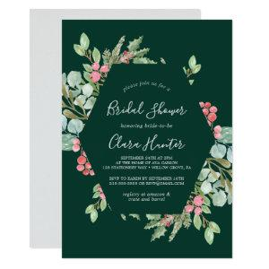 Christmas Greenery & Red Berry Green Bridal Shower Invitation starting at 2.51