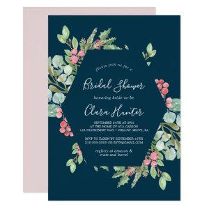 Christmas Greenery & Red Berry Navy Bridal Shower Invitation starting at 2.51