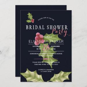 Christmas holly berries winter bridal shower party invitation starting at 2.40