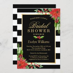 Christmas Poinsettia Floral Striped Bridal Shower Invitation starting at 2.30