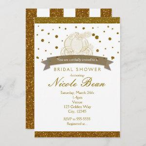 Cinderella Carriage Gold Glitter Dots Invitations starting at 2.66