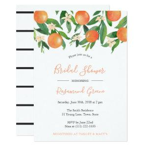 Citrus Black Modern Calligraphy Bridal Shower Invitation starting at 2.66